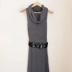 🍁 HeartSoul Gray Ribbed Cowl Neck Sweater Dress